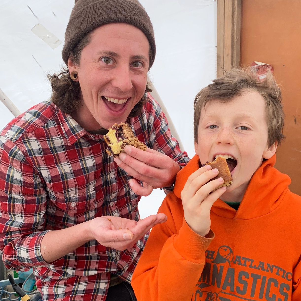 Deckhand Pepper and Oscar reaping the rewards. Yum!