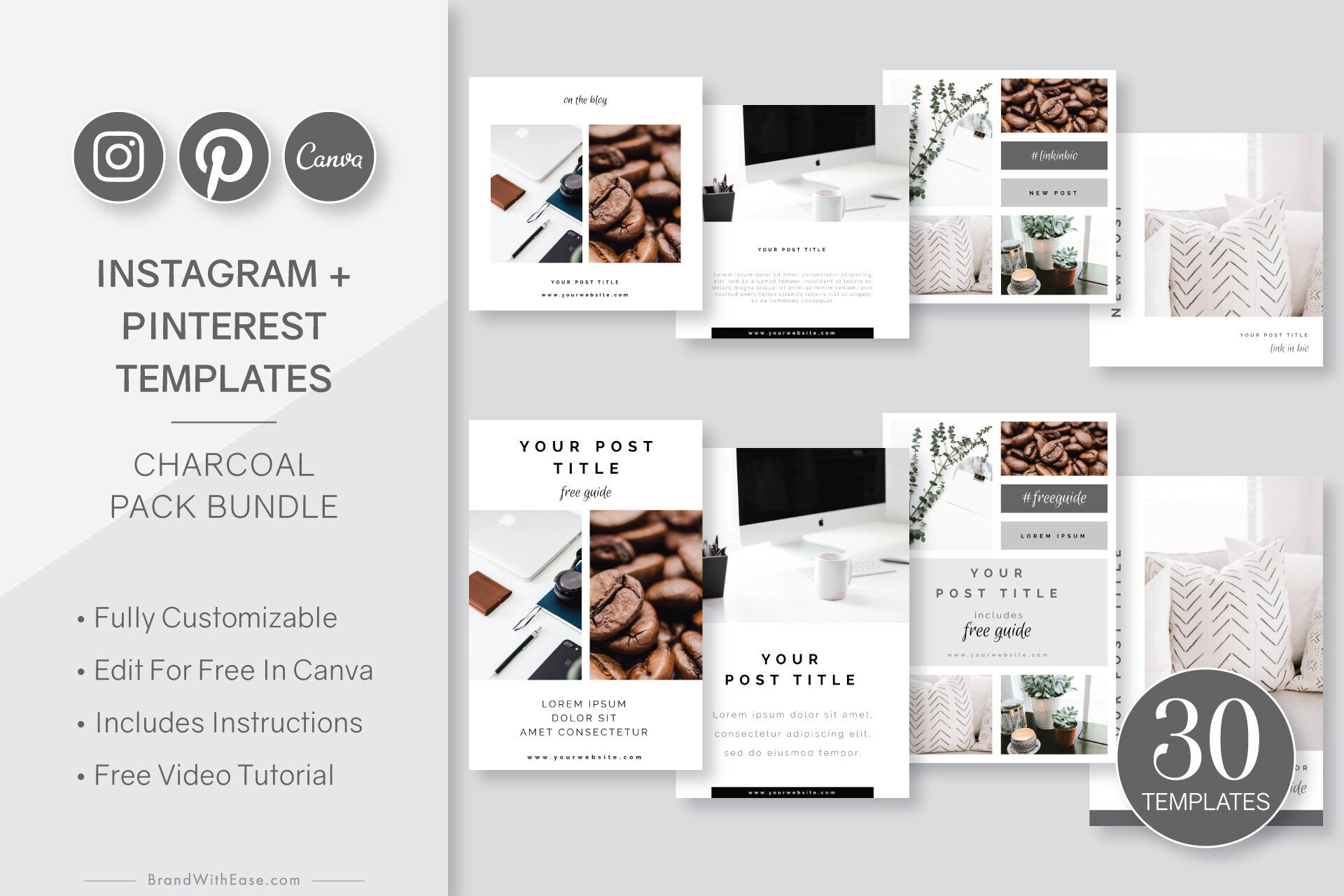 Charcoal Pack Bundle - 30-pc Canva Template Collection for Instagram + Pinterest ($22 value)Learn More →