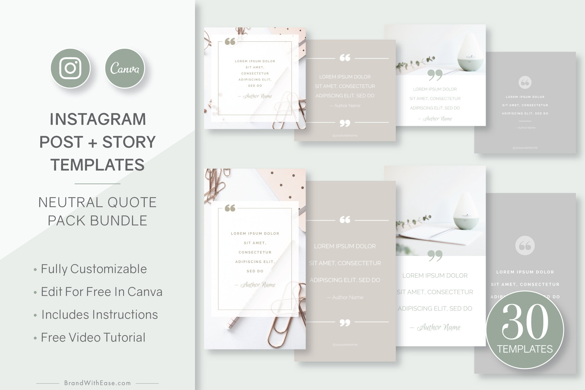 Neutral Quote Pack Bundle - 30-pc Canva Template Collection for Instagram Posts + Stories ($22 value)Learn More →