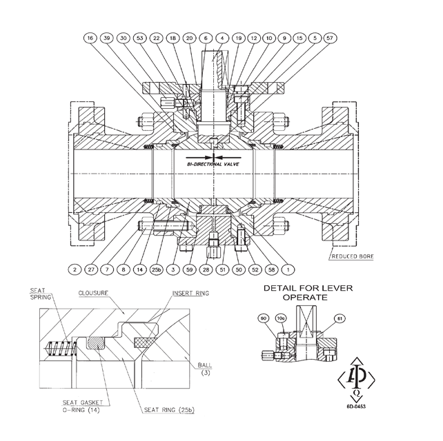"""Notes:  1)  Electroless nickel plated 0.001"""" thickness  2)  Nylon insert on class 900/1500  3)  For lever operated valves  4)  For gear or actuator operated valves   Service: Standard fluid •Carbon steel trim • Fire safe design   Temperature:  -7°C + 160°C ( -7° + 121° for class 900-1500)"""