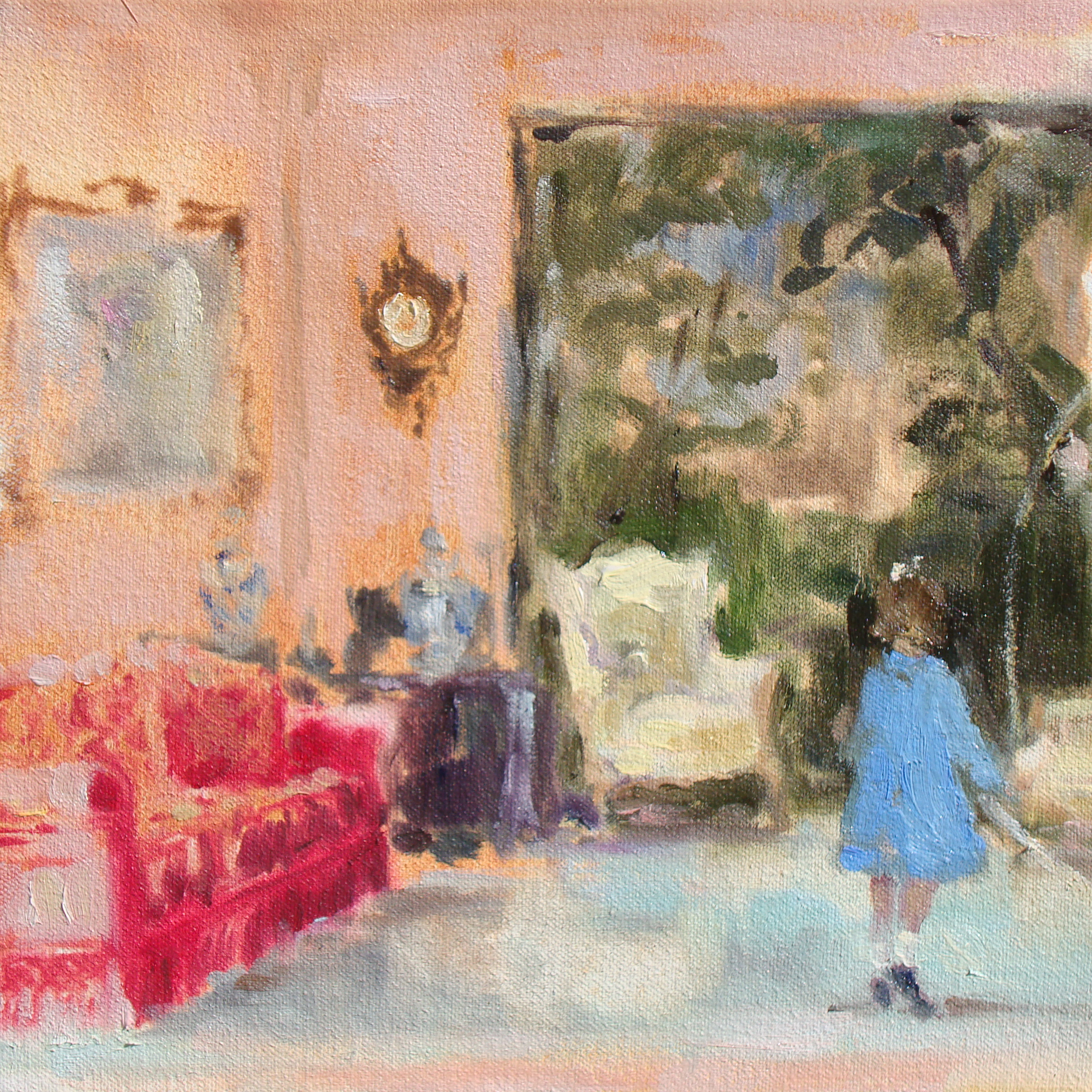 Vintage Suite (double-dutch in the living room) 8 x 8 in. oil on canvas 2011
