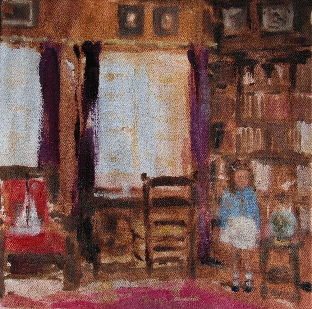 Velvet Carousel (into a writer's dream) 8 x 8 in. oil on canvas 2010