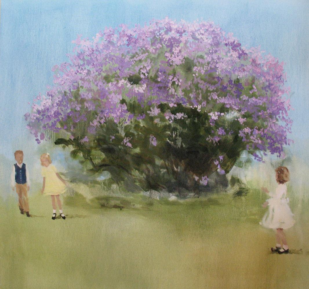 Velvet Carousel (lilacs and linen) oil on canvas 34 x 36 in. 2010