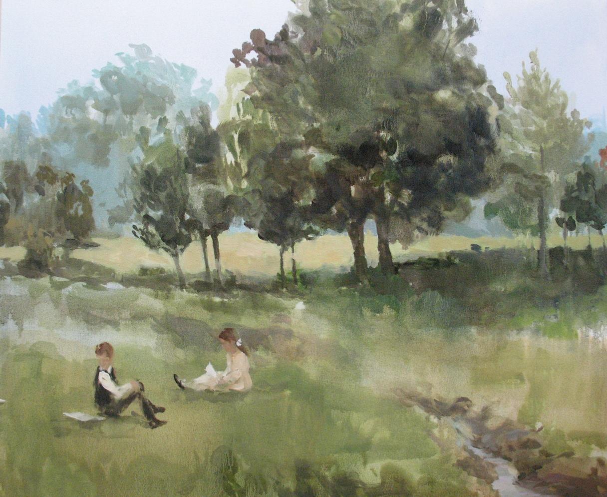 Velvet Carousel (paper trail) oil on canvas 30 x 36 in. 2010