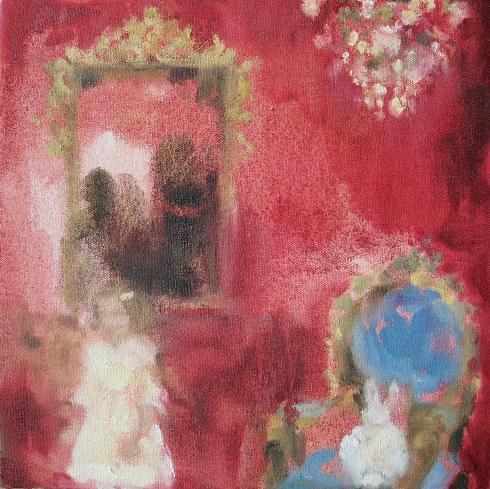 Velvet Carousel (white rabbit day) oil on canvas 8 x 8 in. 2010