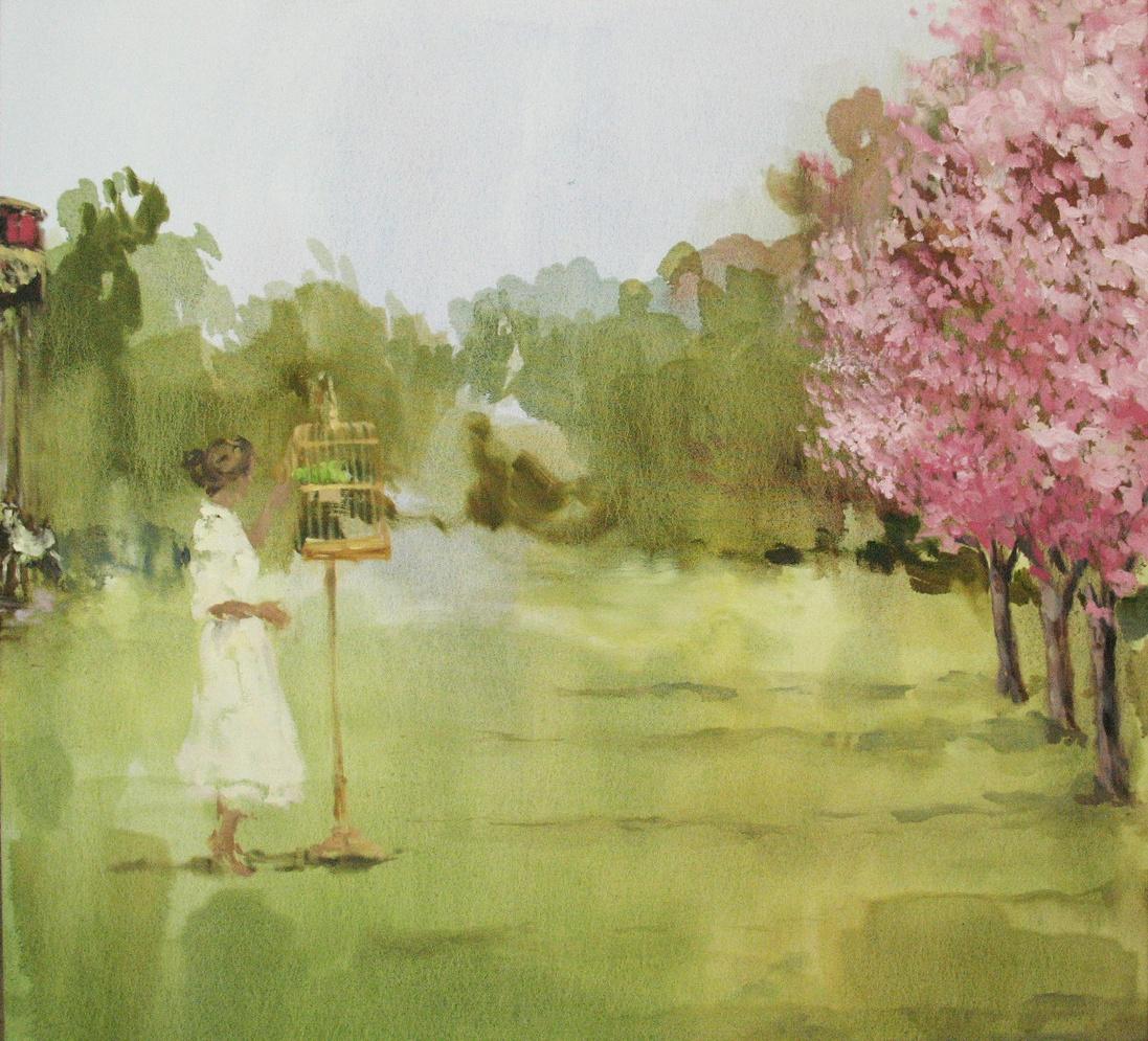 Velvet Carousel (birds will bring you honey) 34 x 36 in. oil on canvas 2010