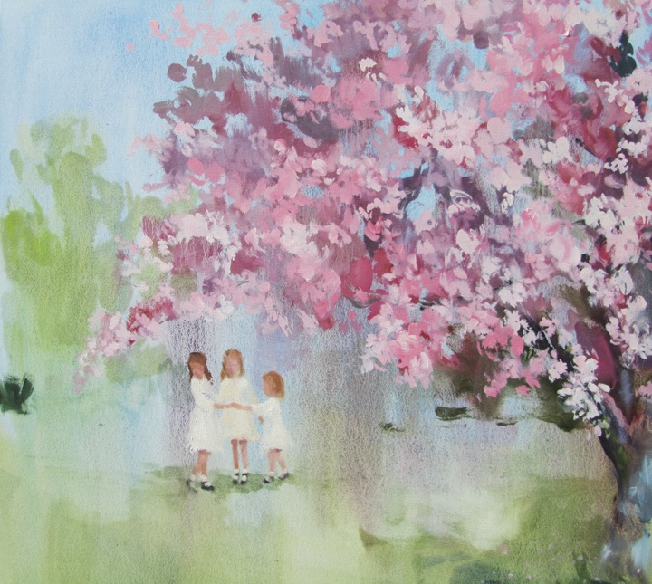 In blush time (the sunshine walked beside her) oil on canvas 30 x 30 in. 2012