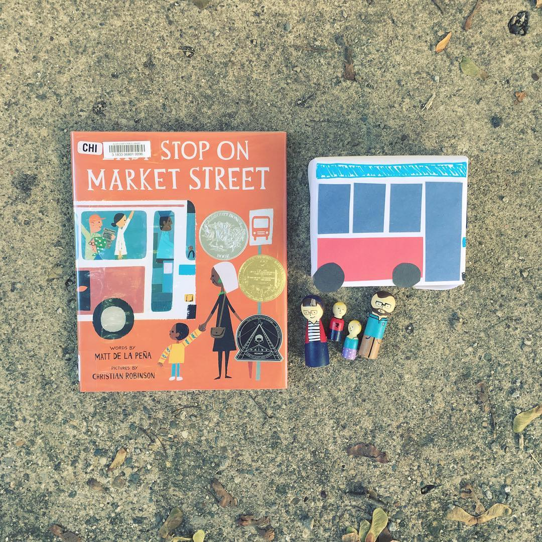 Last Stop On Market Street  by Matt De La Pena illustrated by Christian Robinson  Follow a young boy as he struggles to understand the importance of his weekly outing with his grandmother