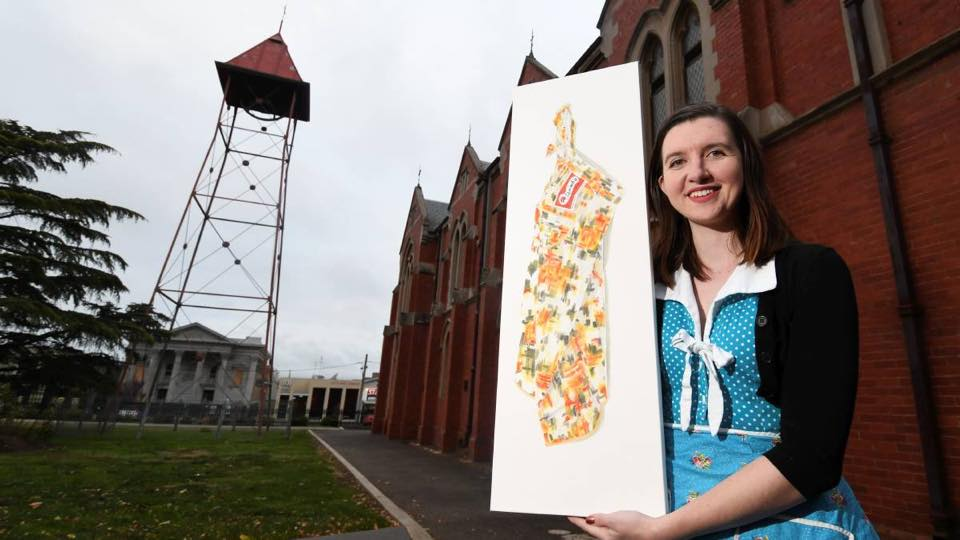 Me standing in front of St. Patrick's Cathedral Hall - site of 2018 Ballarat Apron Festival. Photo by Lachlan Bence of The Courier