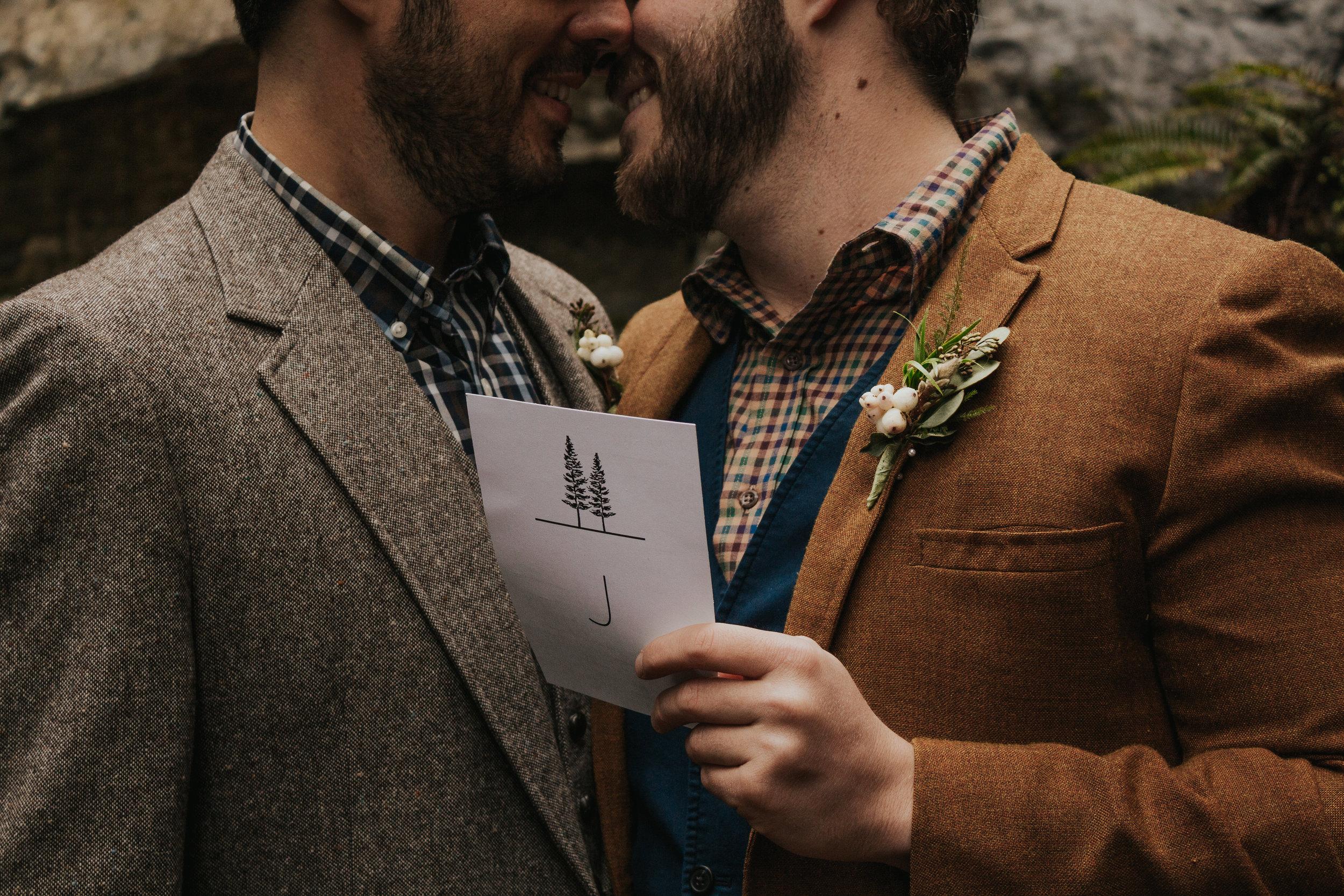 Oregon Forest Elopement Same Sex Couple Holding Vows