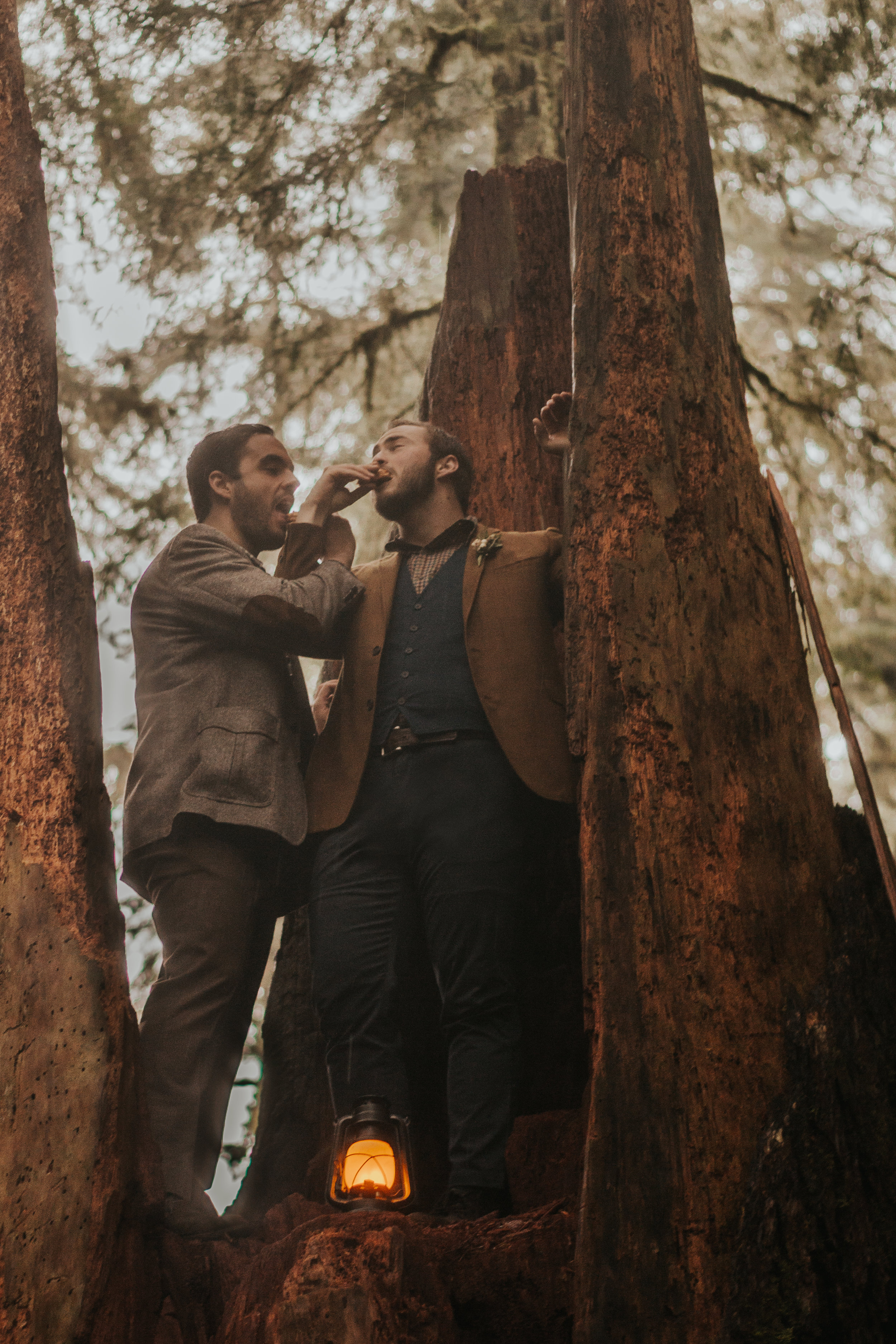 Oregon Forest Elopement Same Sex Couple in a Tree