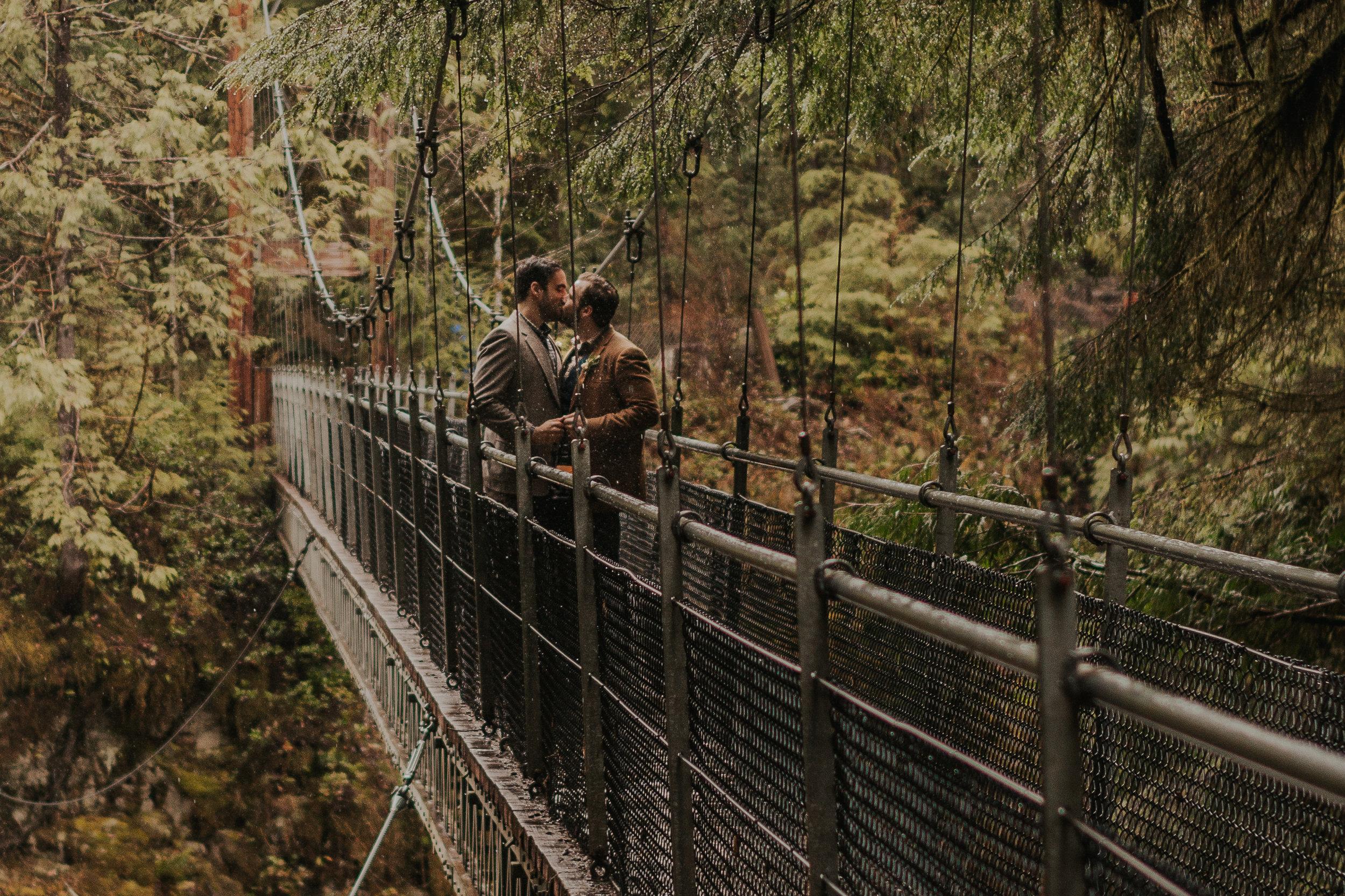 Oregon Forest Elopement Same Sex Kiss