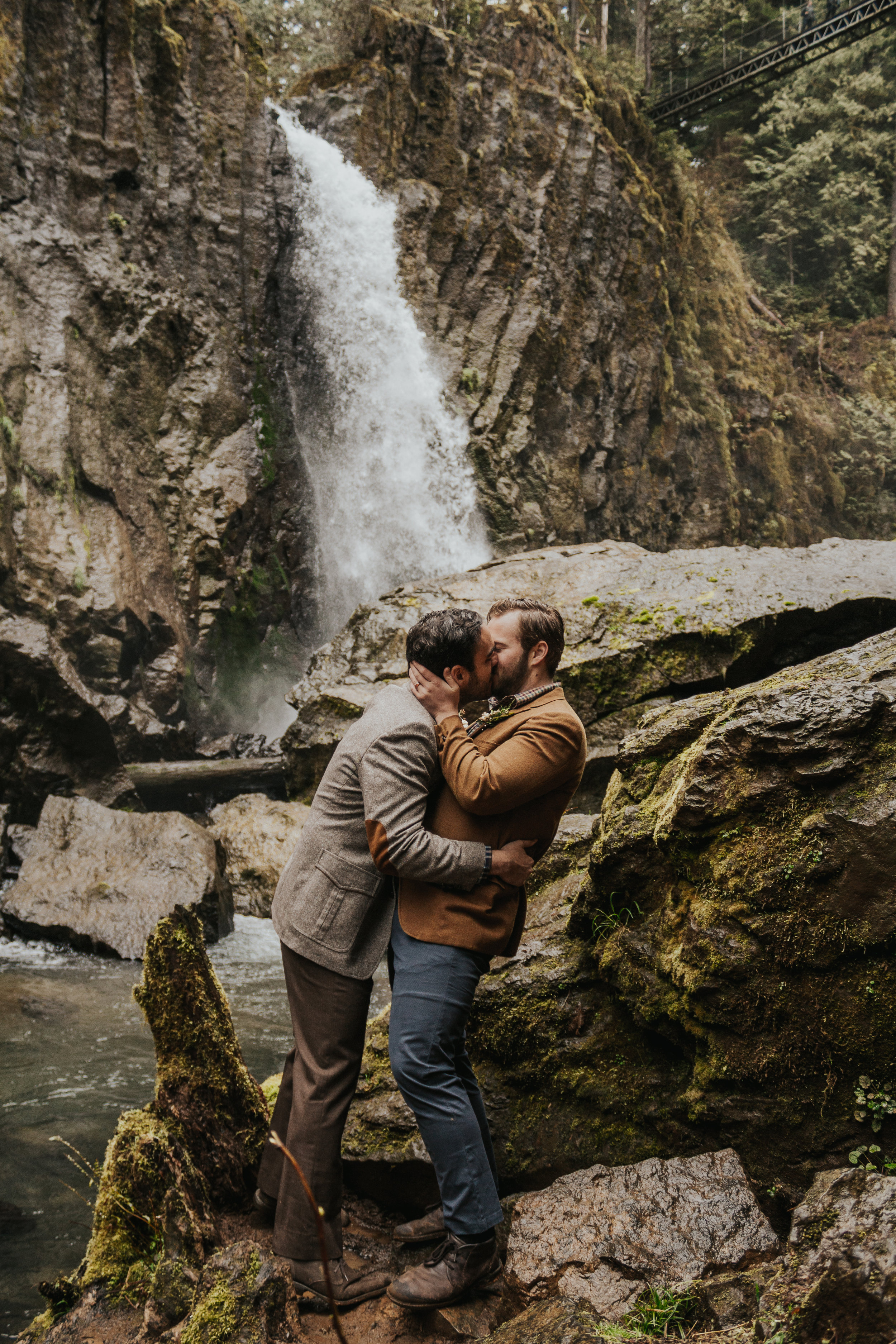 Oregon Forest Elopement Same Sex Waterfall Kiss