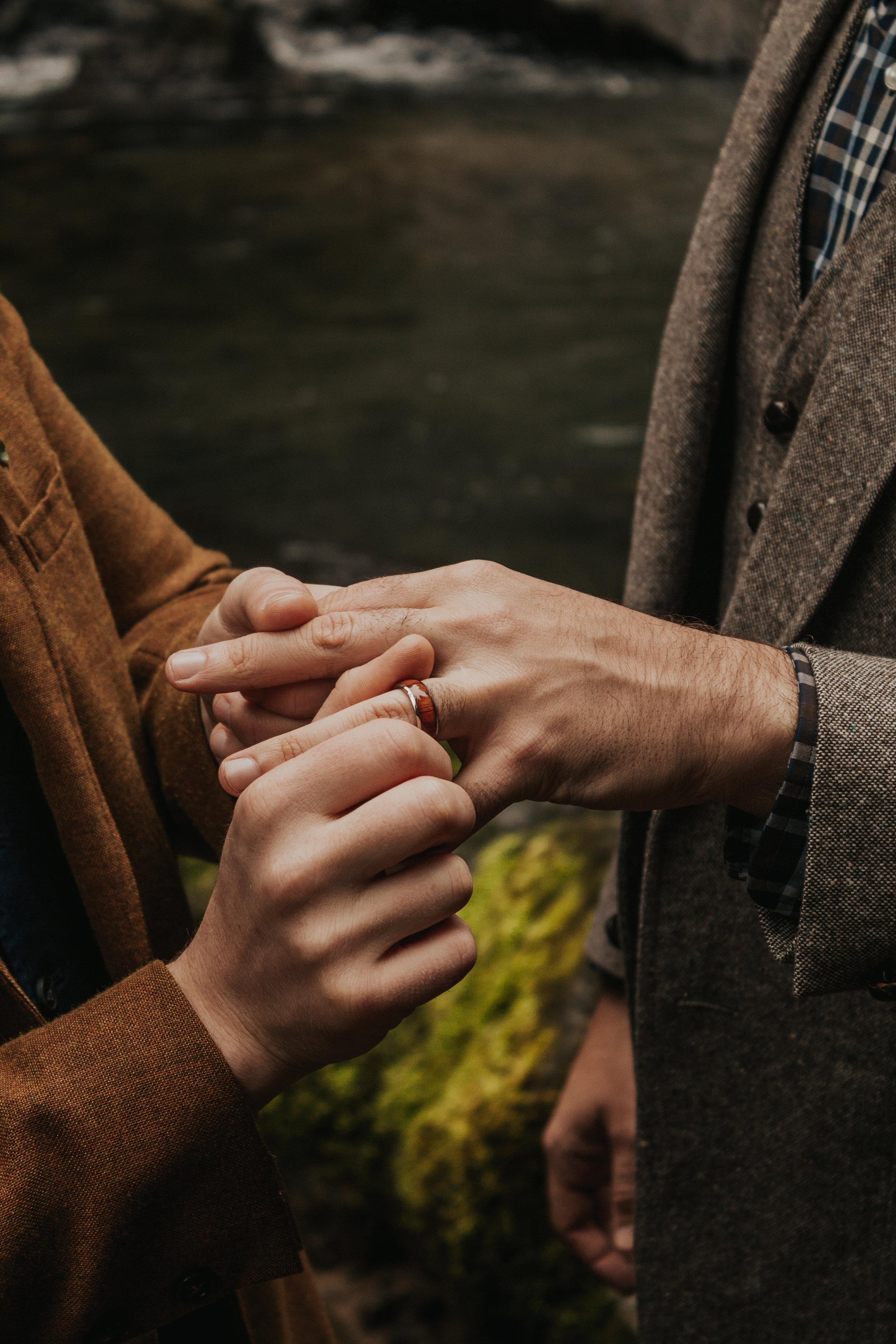 Oregon Forest Elopement Same Sex Rings