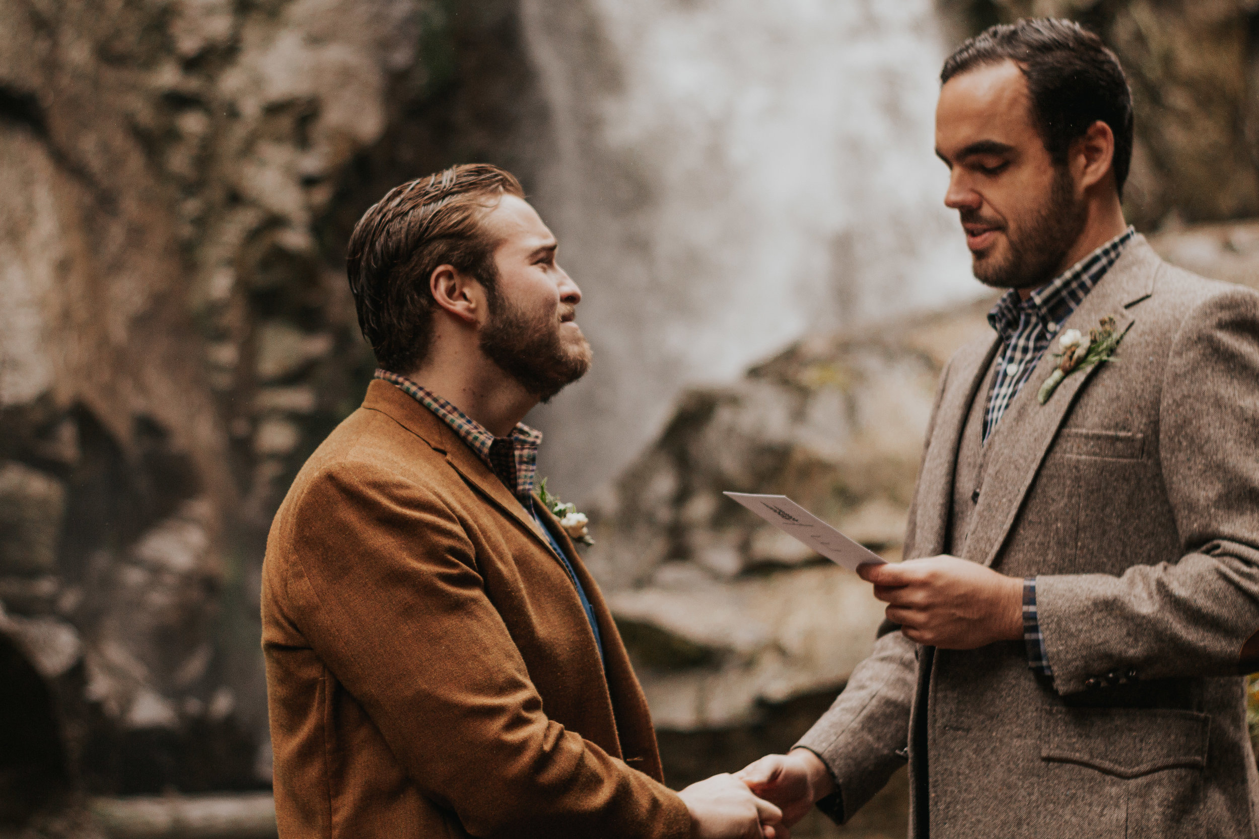 Oregon Waterfall Elopement - Romance. Rainfall. Ruggedly handsome men. Mix that all together for an epic Oregon Waterfall Elopement in the woods with two Loverjacks!Read More