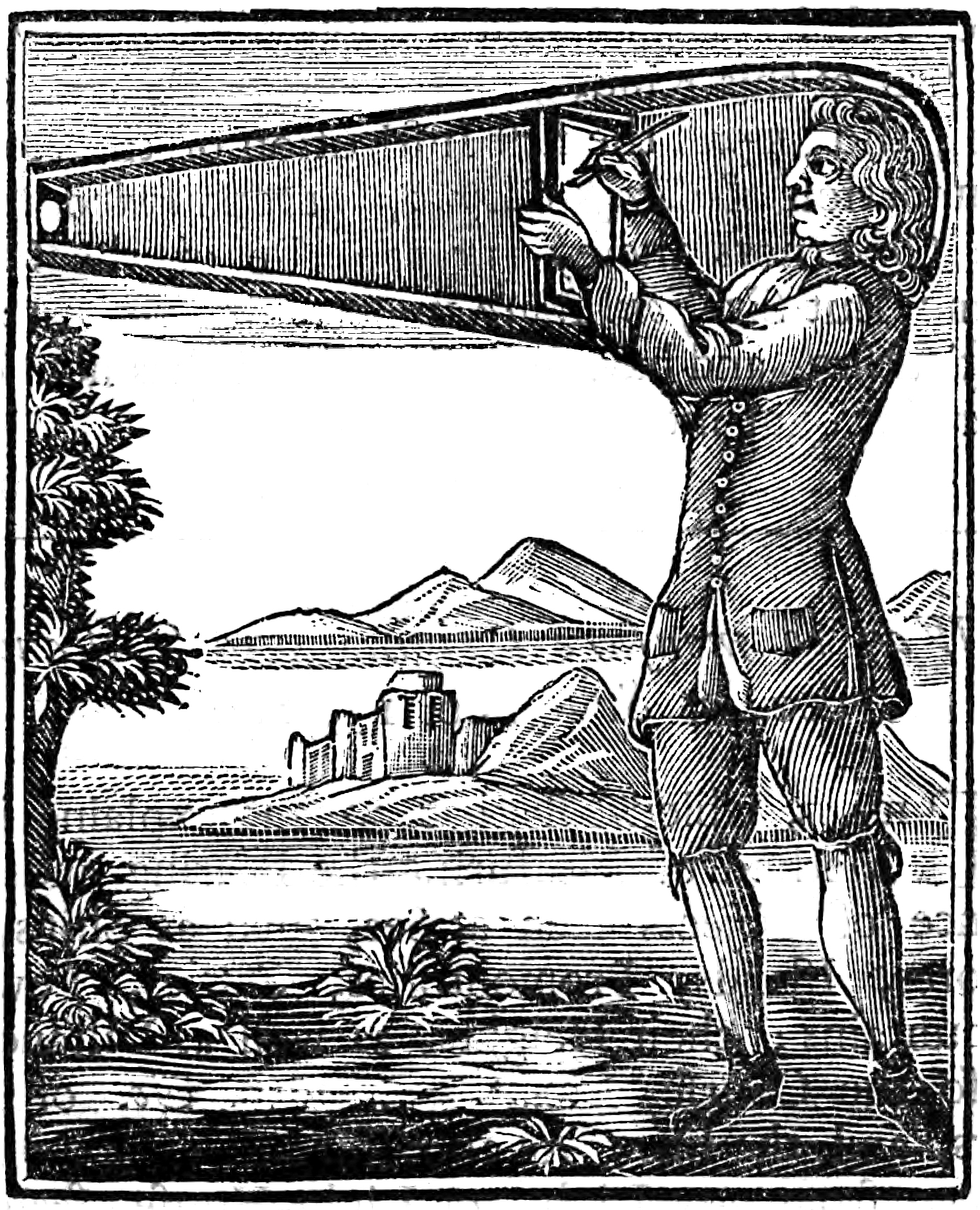 "Sir Robert Hooke suggests a ""wearable"" camera obscura he calls a ""Picture Box"" (1694)."