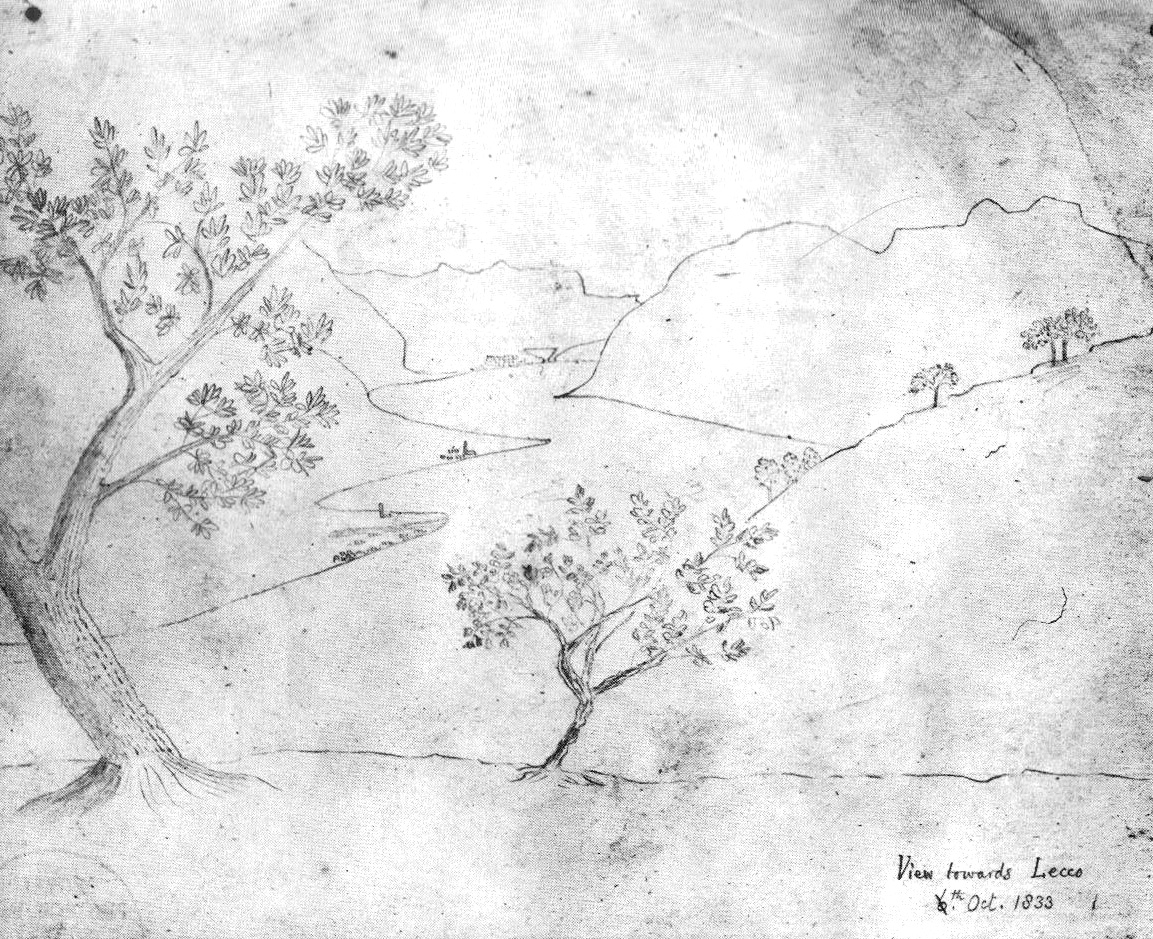 Henry Fox Talbot, View towards Lecca, drawn with a camera lucida, 1833