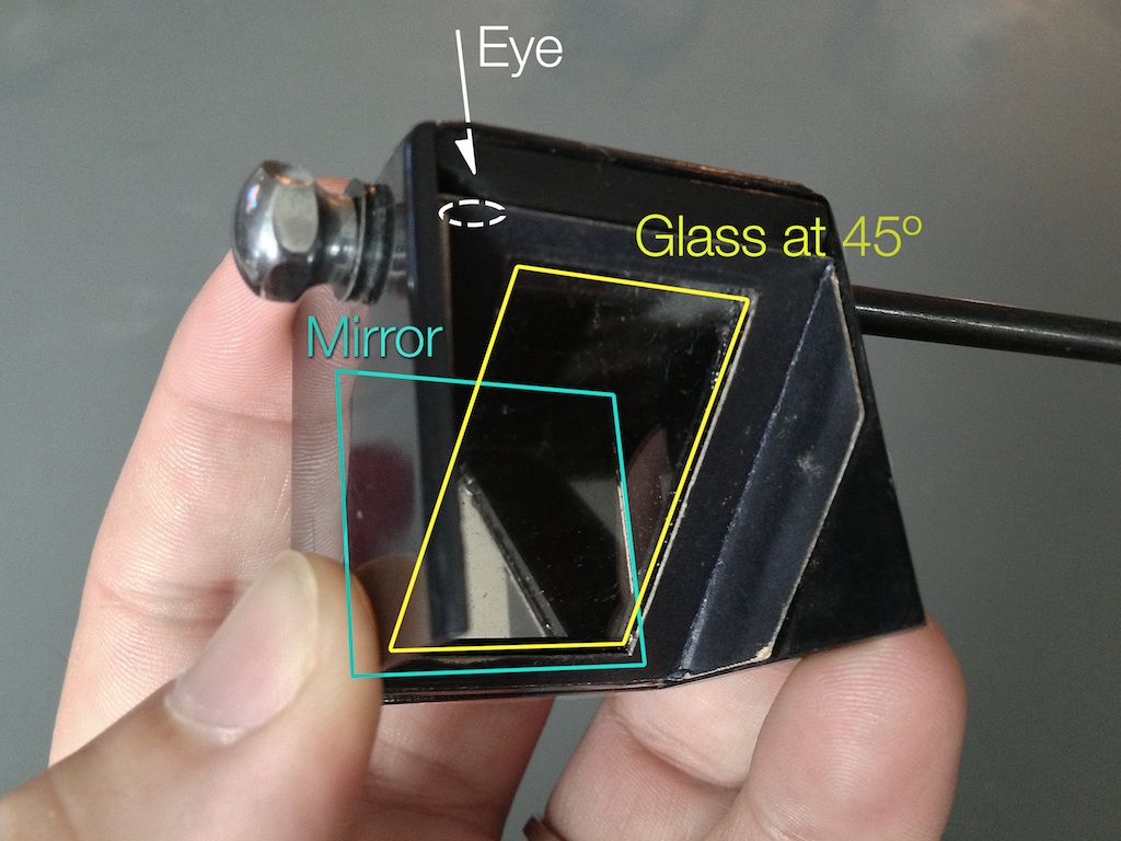 Instead of a camera lucida prism, these tools used an angled mirror with a separate angled piece of glass.