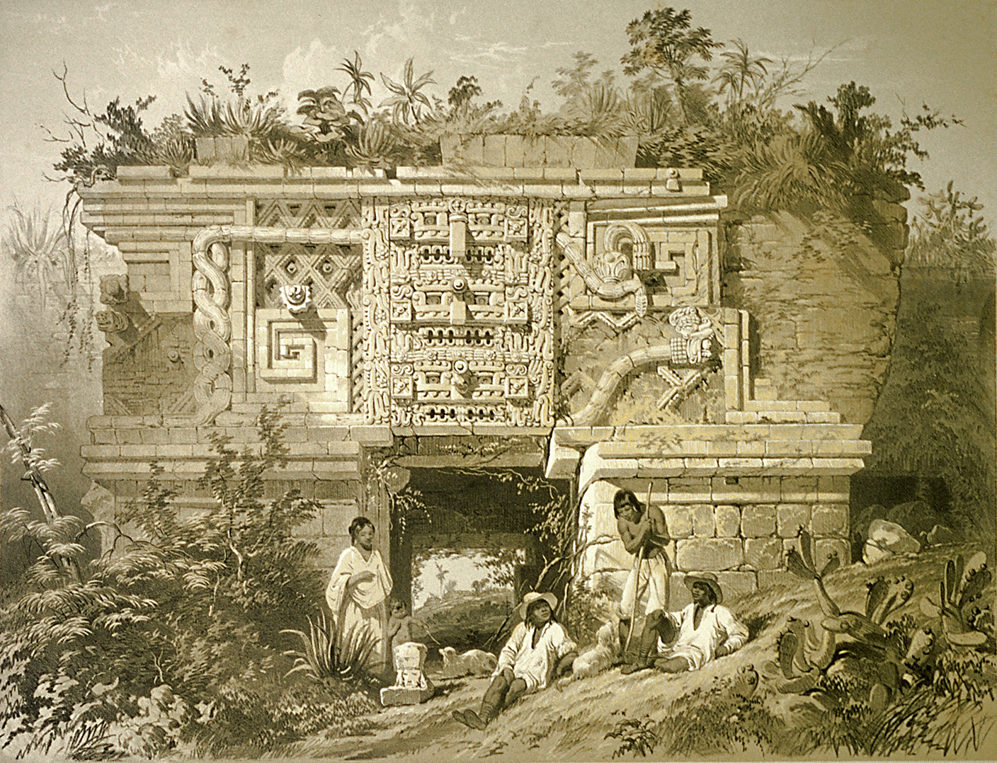 Uxmal Nunnery, from Views of Ancient Monuments in Central America, Chiapas and Yucatan 1844