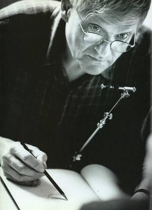 David Hockney using a camera lucida, from Secret Knowledge, 2000