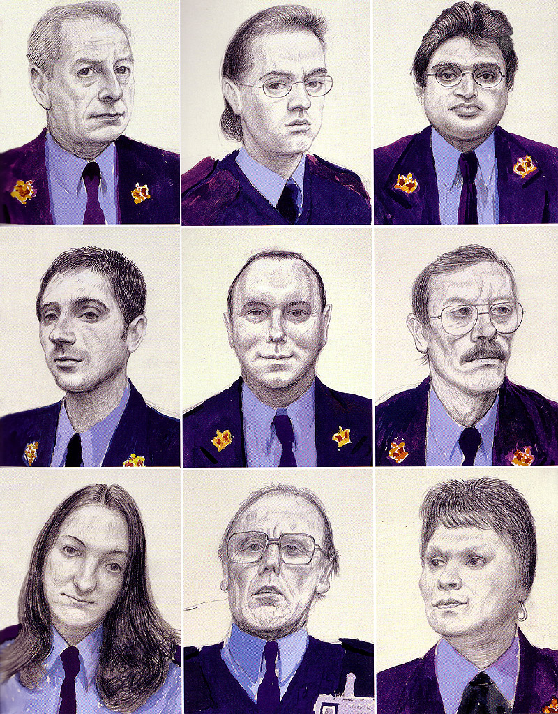 Camera Lucida Drawings of National Gallery (UK) Guards, from Secret Knowledge, 1999-2000