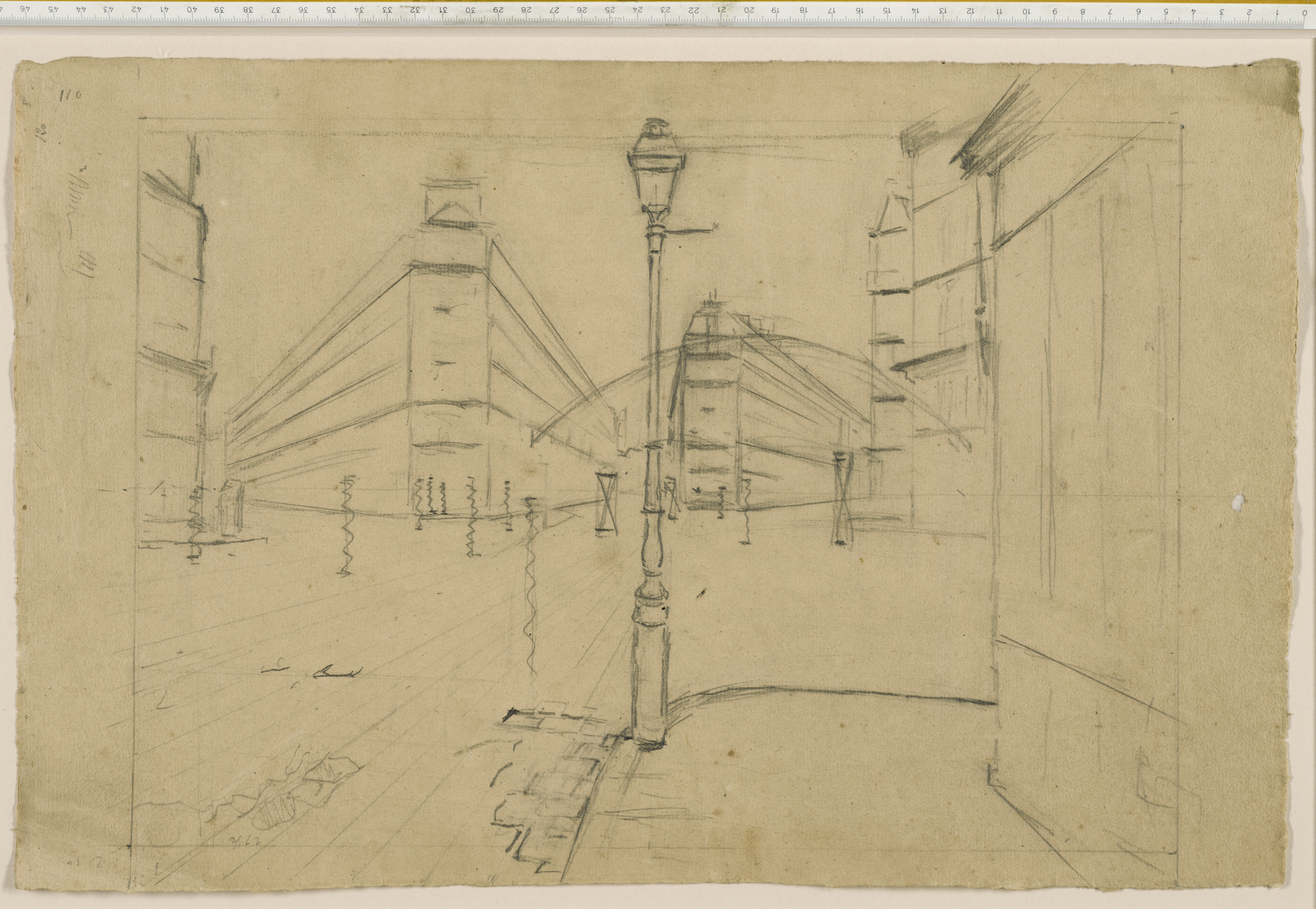 Gustave Caillebotte's preparatory drawing for  Paris Street; Rainy Day  (1876-7), collection of The Art Institute of Chicago.