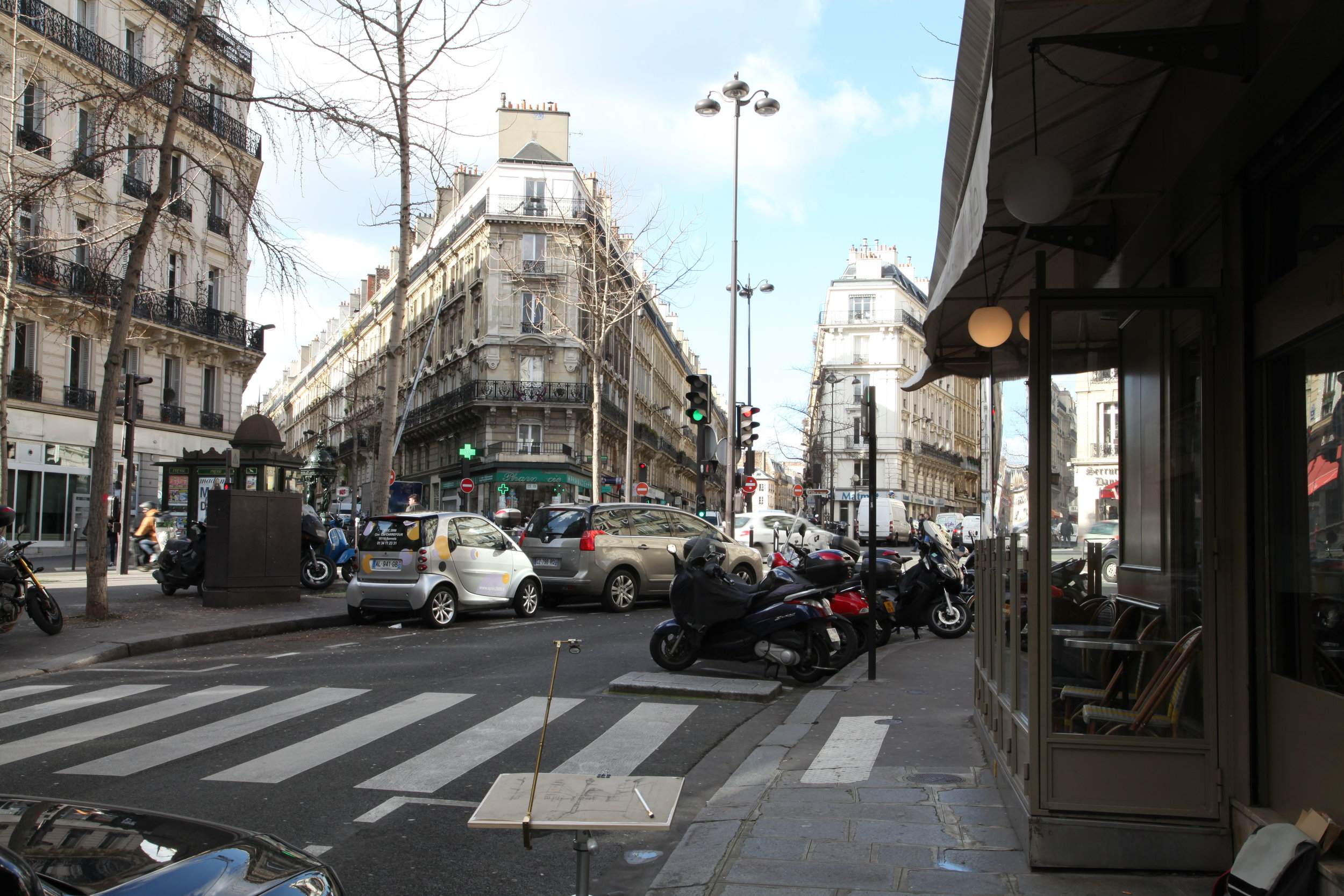 View of Rue de Turin, Paris, with vintage camera lucida set up on the precise spot where Caillebotte made his preparatory drawing.
