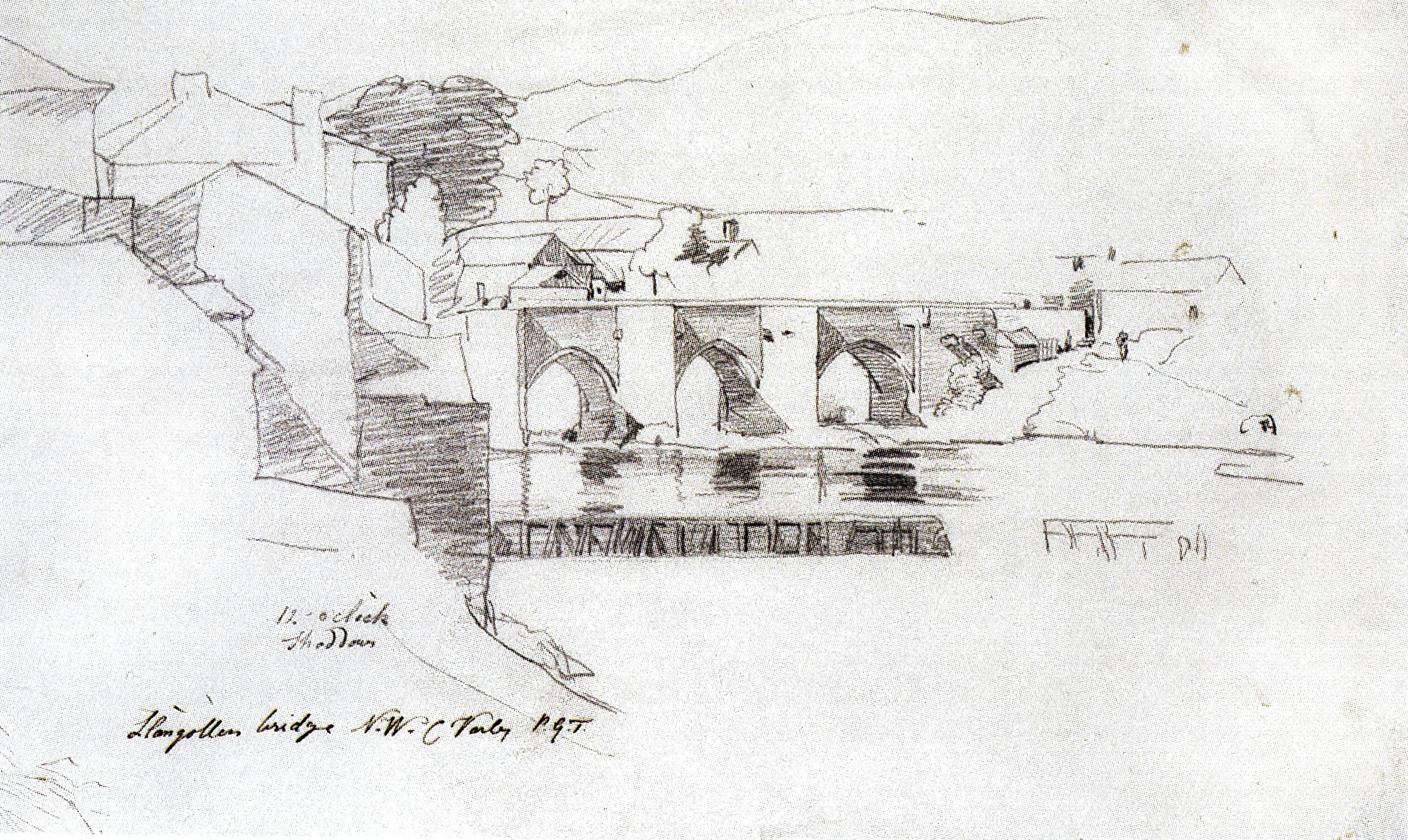 Cornelius Varley, Llangollen Bridge, North Wales (1818)