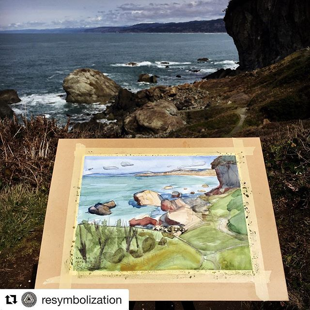 """#Repost @resymbolization (@get_repost) ・・・ Happy Cloud Painting Club at Patrick's Point today. I used my NeoLucida to inform a minimal foundation sketch. Me being colorblind, I chose a color palette too complicated for my own understanding and corrected the course by enhancing the graphite drawing and going for a more graphic style. We were collectively called """"Bob Ross"""" by some passers-by with limited art references, hence today's new club name. @aleisha_bradley #NeoLucida #pleinair #landscape #watercolor #painting #patrickspoint #humboldt #california #pacificocean  #graphitepencil #sketch #colorblind #fun"""
