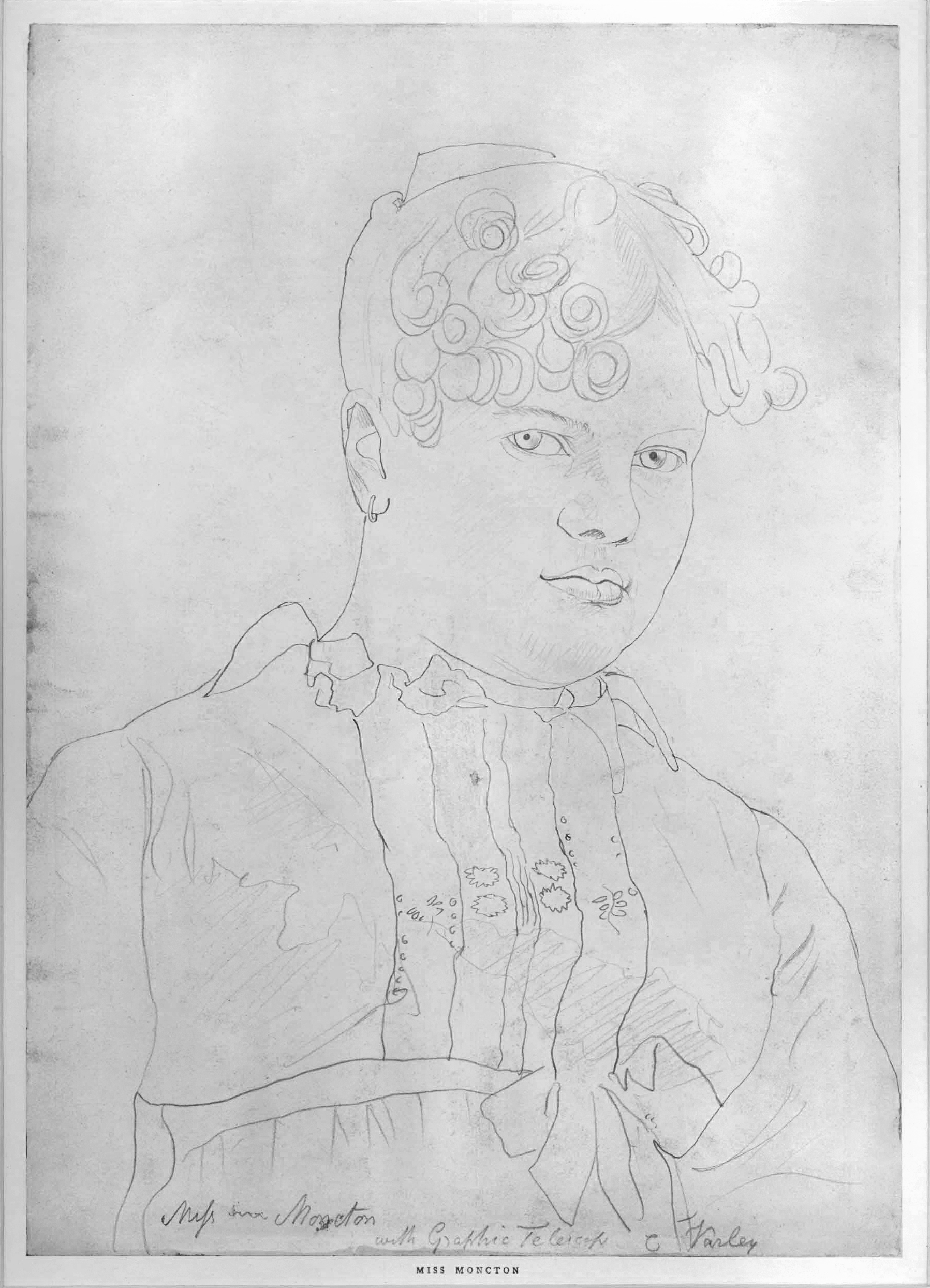 Cornelius Varley, Portrait of Mrs. Moncton (date unknown). Not a particularly refined portrait, but an exemplar of traced line look of optically traced drawings.