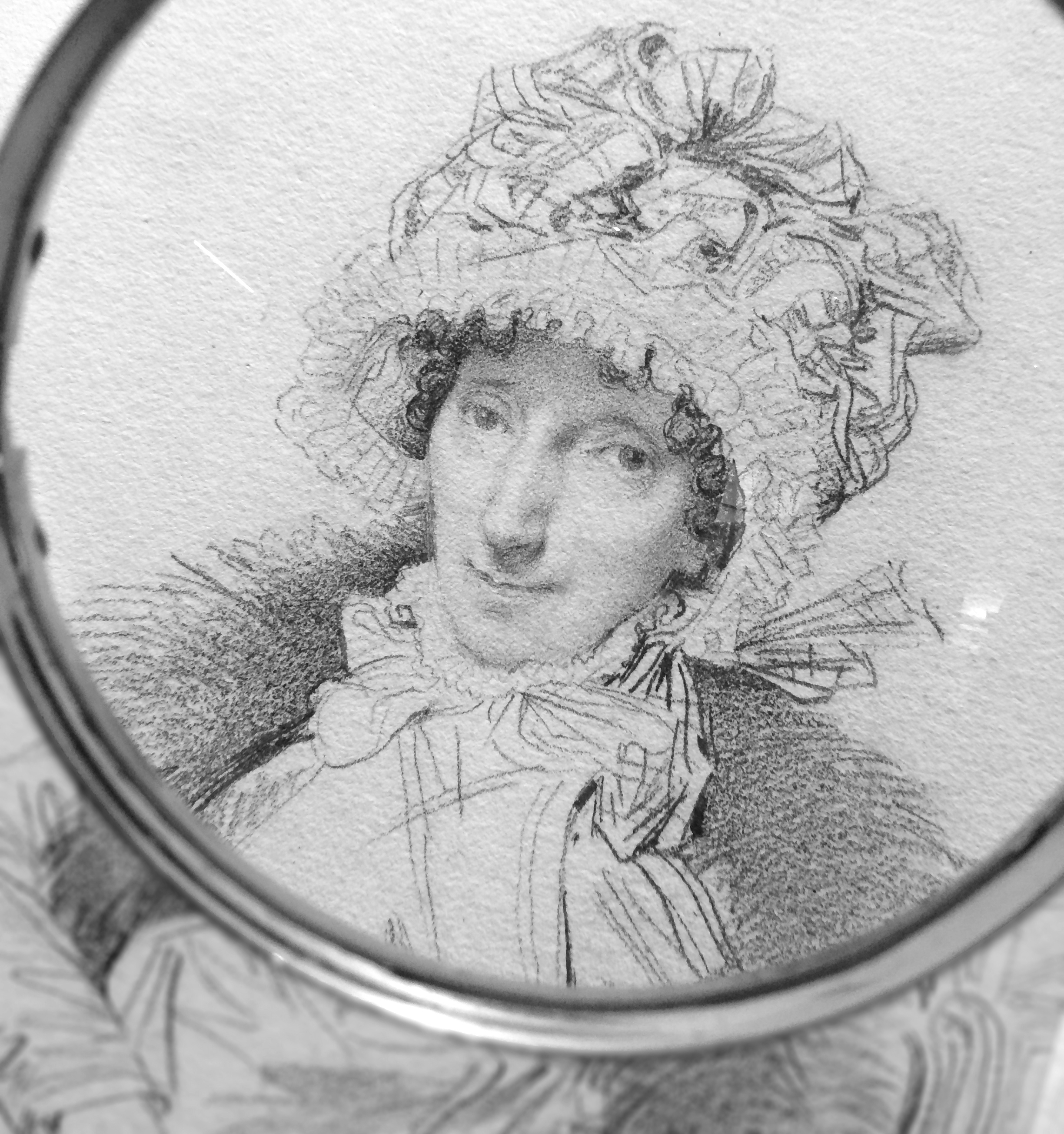Portrait of Mrs. John Mackie, by Jean-Auguste-Dominique Ingres, 1816. Let's say this drawing took an hour to complete. How much of that time did Ingres use his camera lucida? Maybe five minutes? It's impossible to know for sure. Using a camera lucida for nearly 15 years tells me that skilled artists like Ingres would do most of a detailed drawing like this without optical aids.    (Photo taken by me through magnifying glass while doing research at The Victoria & Albert Museum, London).
