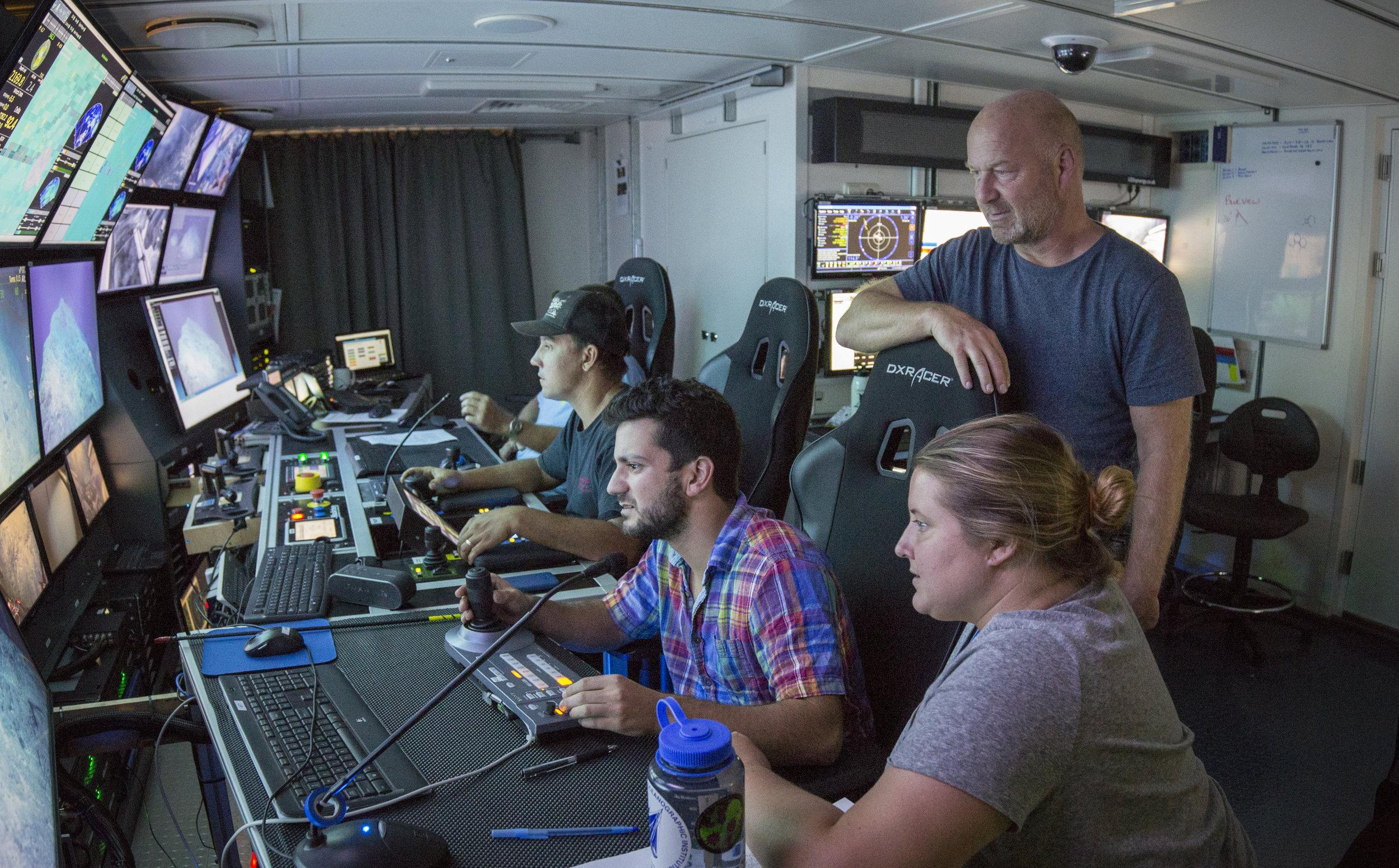 Control van of ROV SuBastian on R/V Falkor with Luke McCartin and Tim Shank