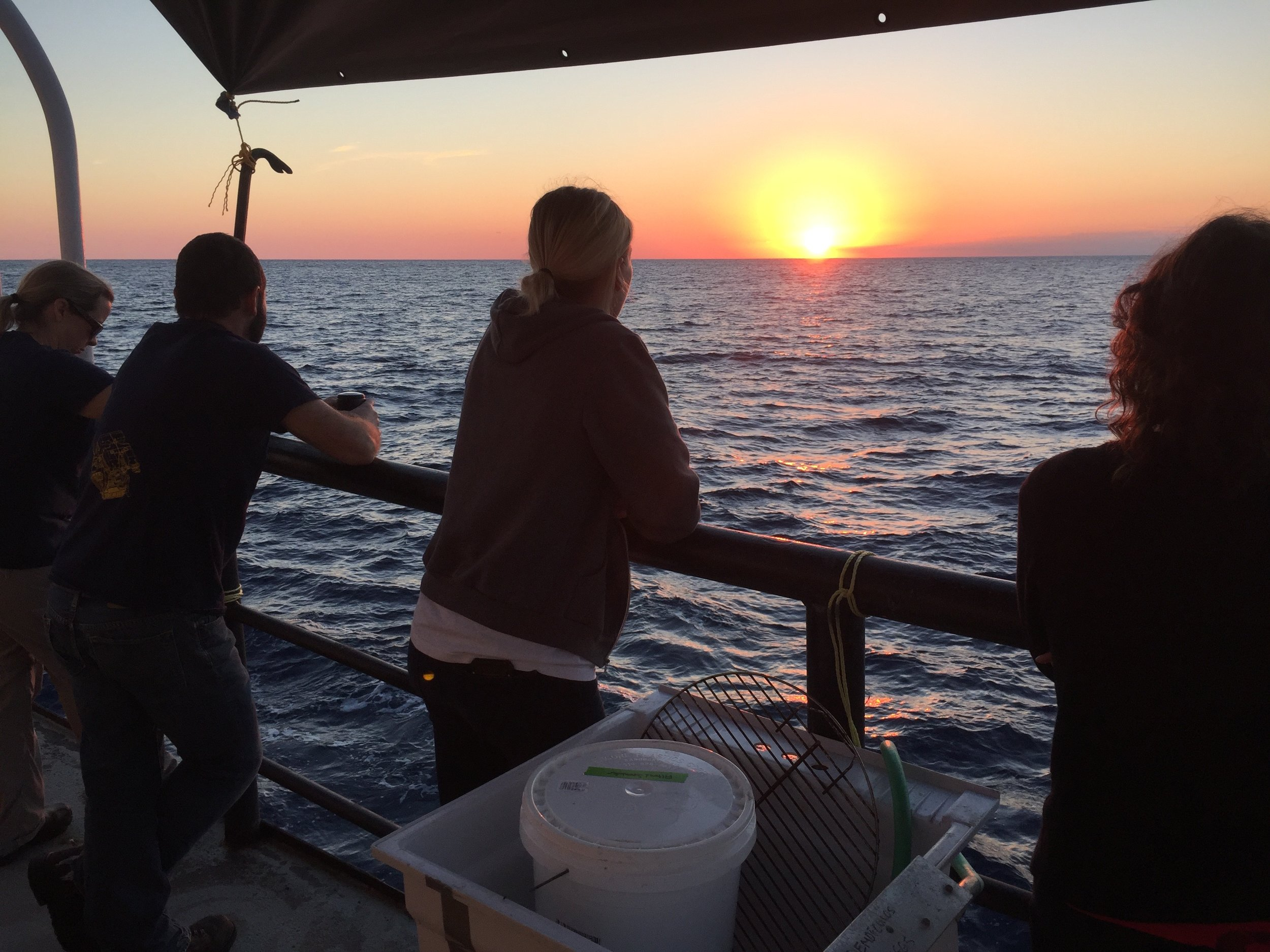 Fellow science team enjoying a beautiful sunset of the Gulf of Mexico