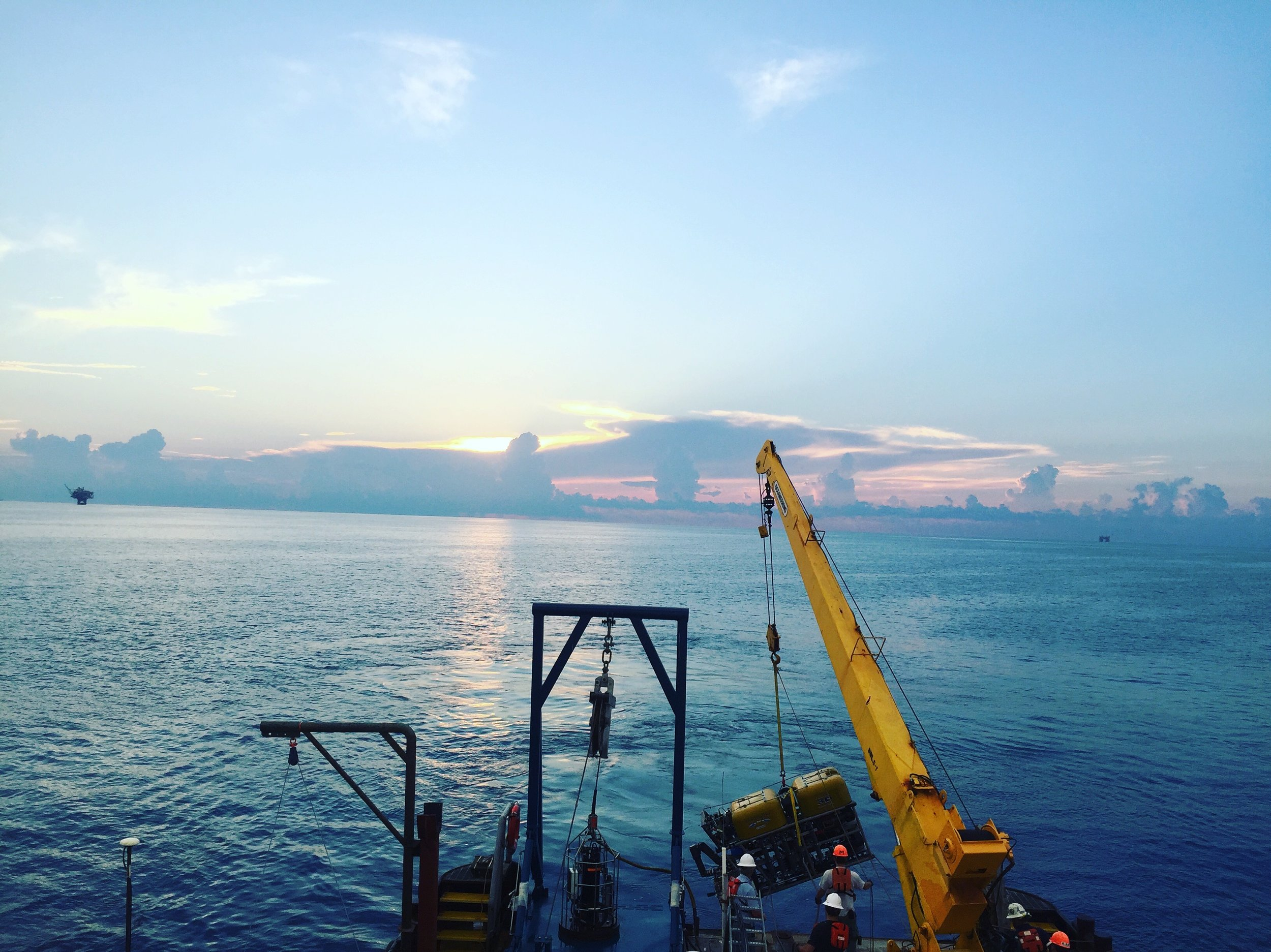 ROV Global Explorer during a sunrise launch