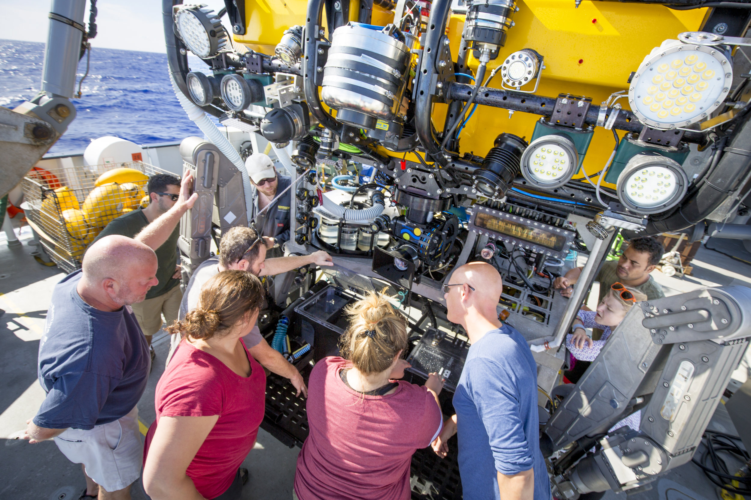 Science team getting the rundown on SuBastian from the ROV team