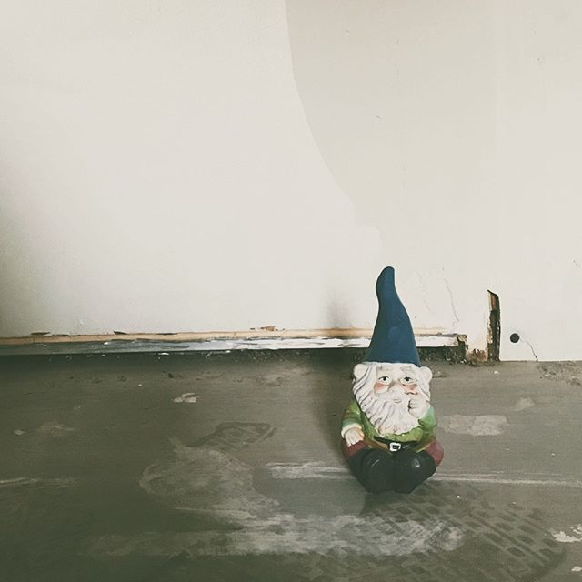 [Gnome in a Home] Mr. Bingles is the last surviving of his kind  and is more than upset about us giving all his friends away. He has decided to come in the house and give his unsolicited opinion on our renovations. Cheeky fellow. 🍄 💛 The house has taken up quite literally all our time. Wake up, drive 40 minutes to the new place, work all day, drive home, shower, and sleep. Repeat. The big move-in day is the 17th. After that, I'll be able to slow down and journal about all this fun we're having fixin' up the house. ☺️ Then, I will be able to start making my house a home. We have so much we want to do to the house and it will come. Slow and steady. I'm excited to be able to take a breather, get creative and post more photos of journal and art here. Thank you for joining me on this exciting journey of my family getting a place of our own. Y'all know it's been a long time comin'. 🙌🏼 And for reals...if you want to see more of Mr. Bingles. He may just show up in my stories from time to time. 😜