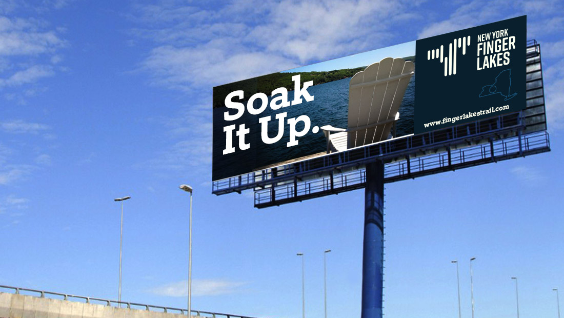 A highway billboard attracts visitors to New York's Finger Lakes region. Logo and campaign created by Insomniac Studios in Rochester, NY. Copyright 2017.
