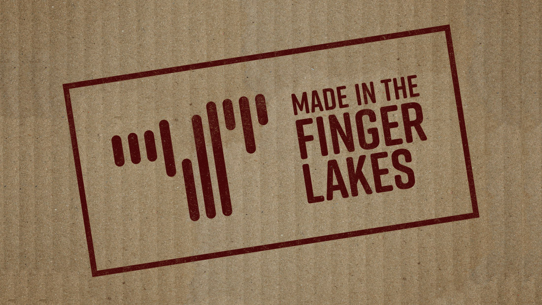The Made in the Finger Lakes logo identifies products and goods from the region. Logo designed by Rochester, NY, marketing firm Insomniac Studios, copyright 2017.