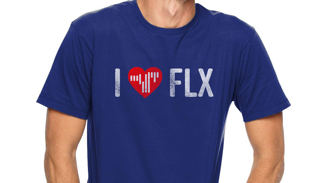 An I Heart Finger Lakes (FLX) t-shirt bears the new logo and shows public support for the New York region. Concept from Insomniac Studios, 2017.