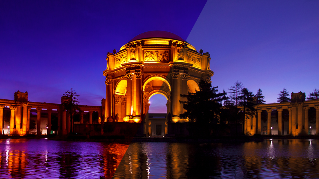 A before and after side-by-side comparison of the two versions of the Palace of Fine Arts photograph.