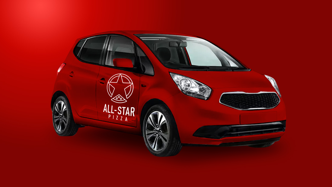 All-Star Pizza delivery vehicle wrap.