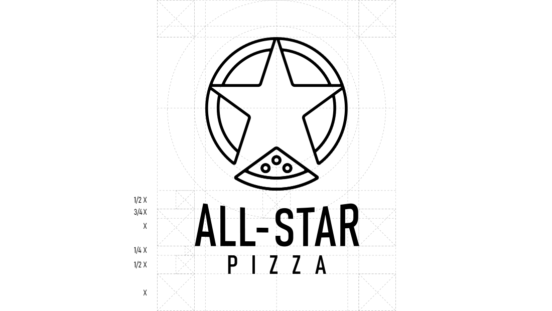 All-Star Pizza logo design architecture and proportions by Rochester, New York-based Insomniac Studios.