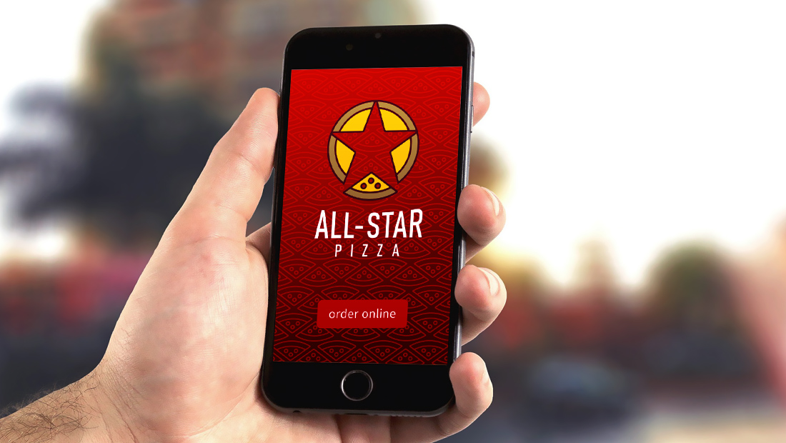Design concept for a mobile ordering app for All-Star Pizza.