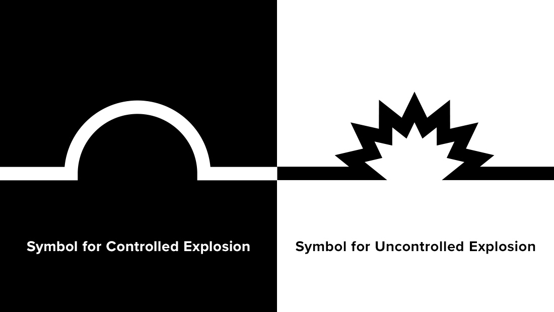 The symbolic language of explosives professionals weighed heavily on Insomniac Studios' logo design decisions.