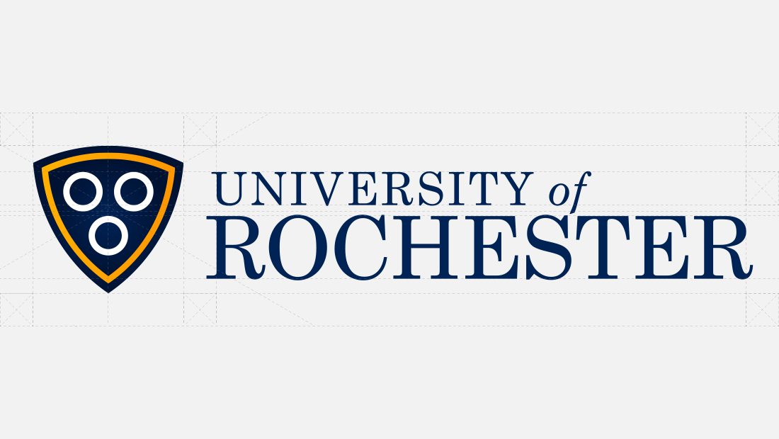 The logo design architecture for a revision of the University of Rochester logo. The new U of R logo was designed by Insomniac Studios, a New York graphic design company. Copyright, 2017.