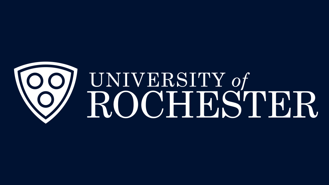 The redesigned U of R logo in white on blue. The university logo was designed by Rochester-based marketing services company Insomniac Studios. All rights reserved, 2017.