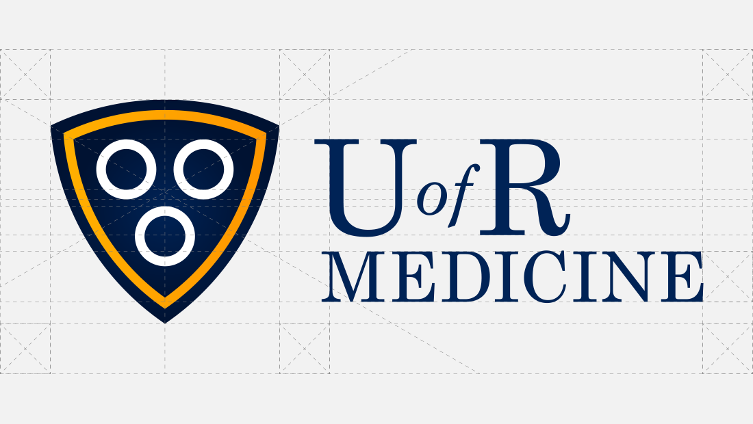 The University of Rochester (U of R) Medicine logo architecture designed by Insomniac Studios.