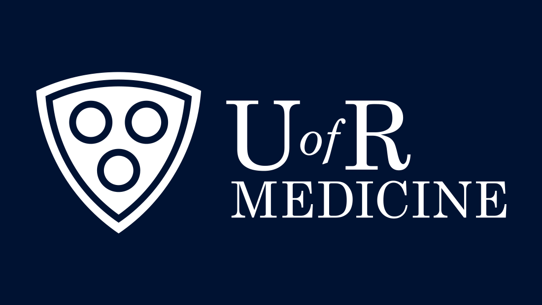 The University of Rochester Medicine logo reversed white on blue. Logo design by graphic design and marketing services company Insomniac Studios, copyright 2017.