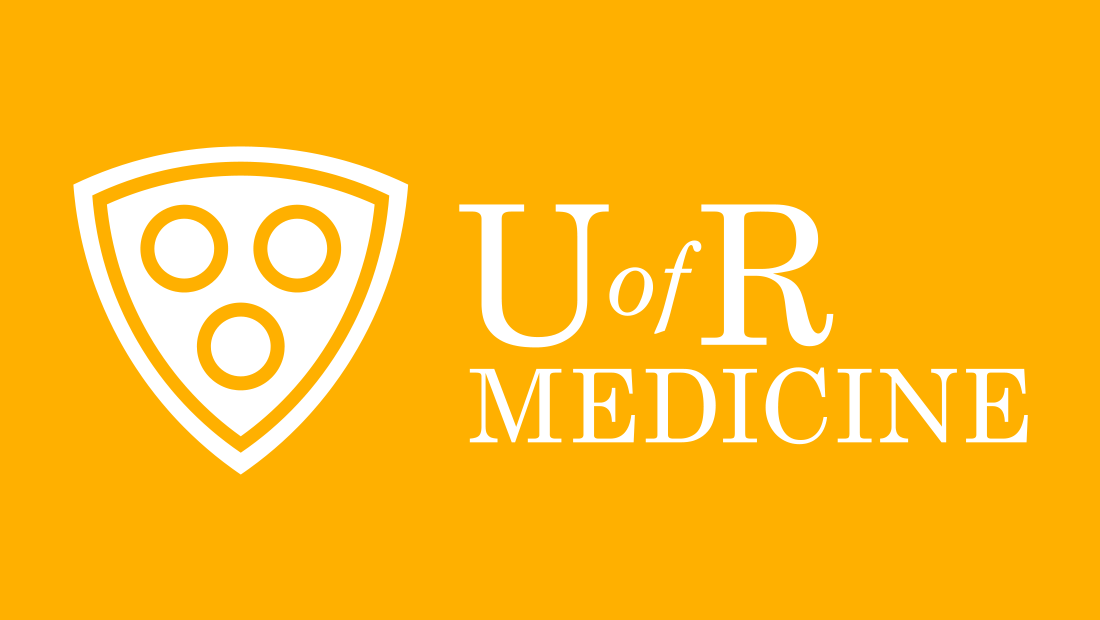Here, the U of R Medicine logo concept is reversed in white on a vibrant yellow. Logo designed by Rochester-based marketing company Insomniac Studios, 2017.