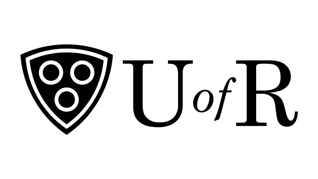 Black and white version of the U of R logo created by Rochester graphic design and marketing company Insomniac Studios.